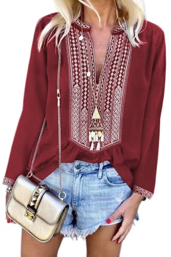 Isla Boho Embroidered Tunic Top Long Sleeve - Della Direct