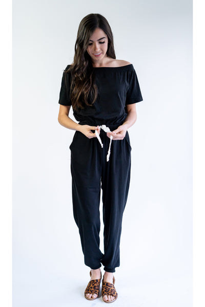 Cameron Off-The-Shoulder Drawstring Jumpsuit - Della Direct