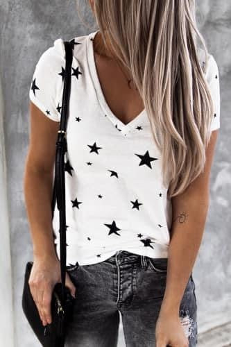 Starry Eyed V-Neck Tee - Della Direct