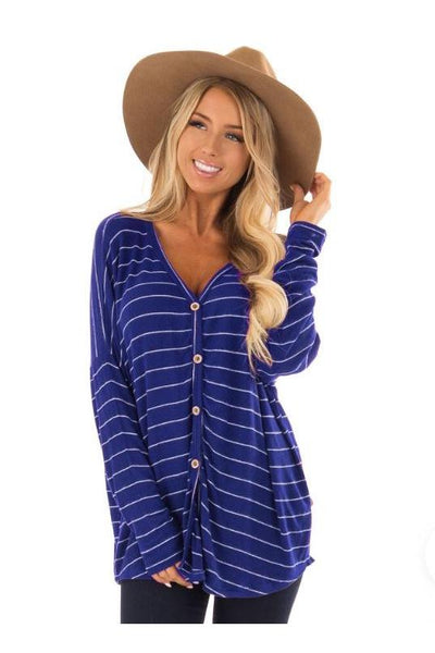 Striped Button Tied Top - Della Direct