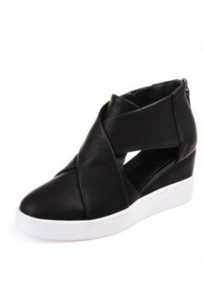 Criss Cross Wedge Tennis Shoes - Della Direct