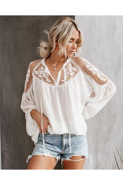 Serena Lace Tie Top - Della Direct