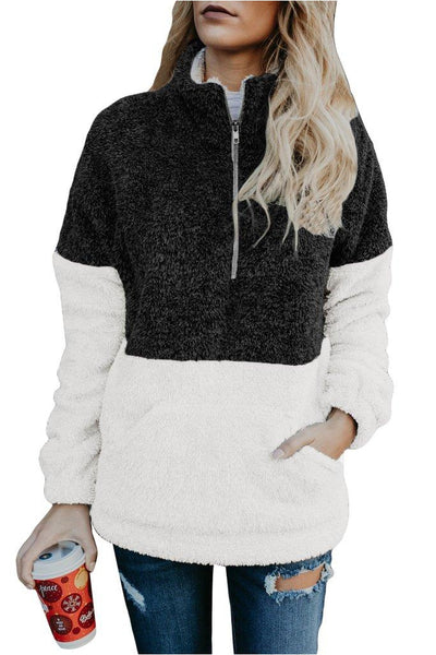 Harlow Two Tone Sherpa Pullover - Della Direct