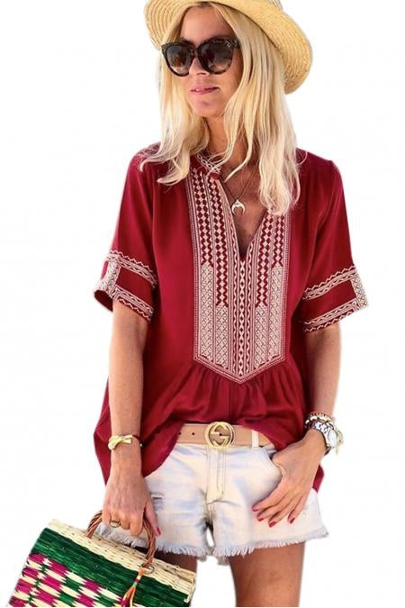 Isla Boho Embroidered Tunic Top Short Sleeve - Della Direct