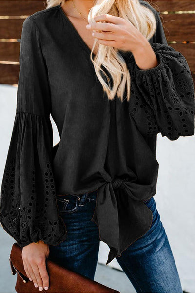 Tessa Balloon Sleeve Tied Top - Della Direct