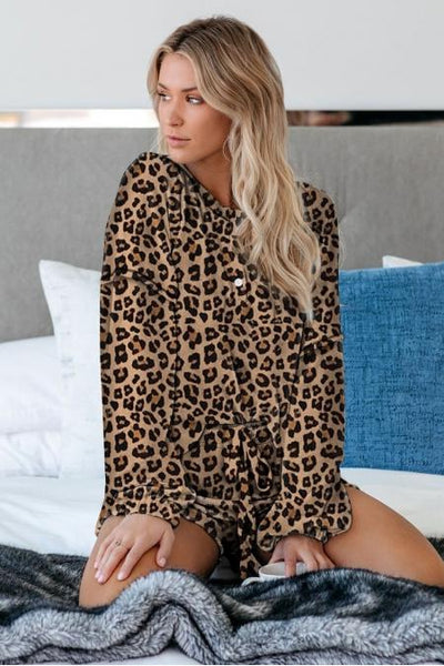 Maggie Long Sleeve Henley & Shorts Lounge Set - Della Direct