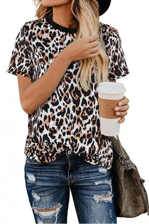 Cheetah Print Ringer Tees - Della Direct