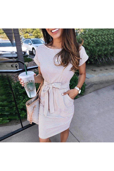 Short Sleeve Izzy Striped Tied Knee Length Dress - Della Direct