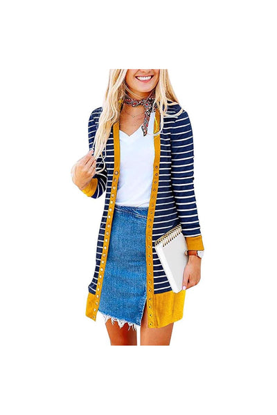 Karisti Striped Button Snap Duster - Della Direct