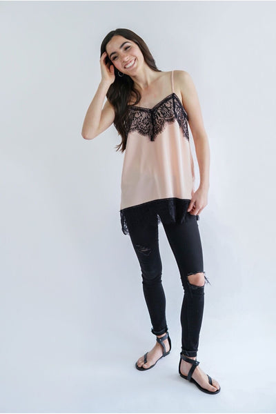 Ophelia Satin & Lace Cami Tank - Della Direct