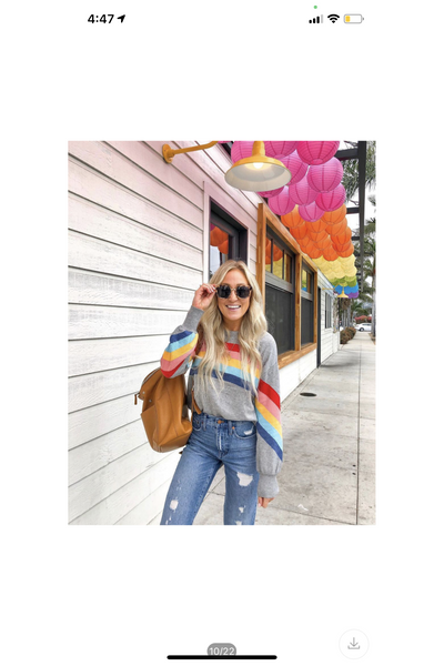 Rainbow Ribbon Stripe Soft Knit Pullover Top