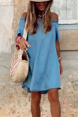Cuba Chambray Off-The-Shoulder Dress