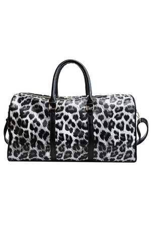 Luxe Leopard Print Vegan Leather Weekender Bag - Della Direct