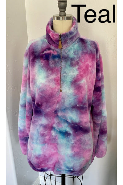 Watercolor Ultra-Soft Furry 1/4 Zip Pullover