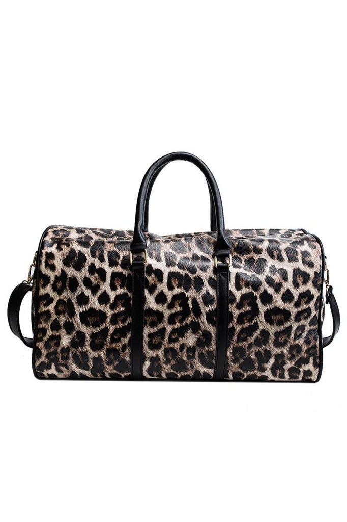 Luxe Leopard Print Vegan Leather Weekender Bag - She & Sho