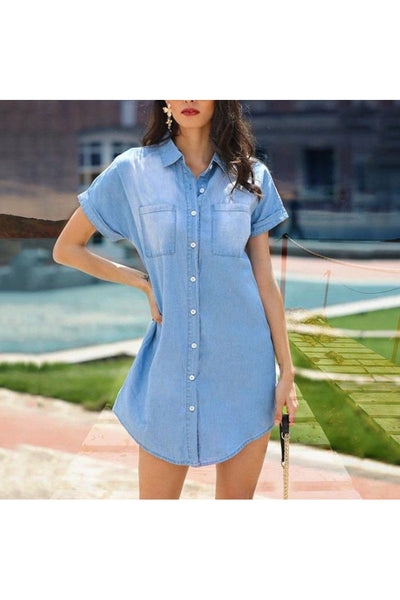 CiCi Chambray Tunic Dress - Della Direct