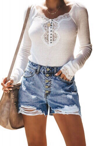 Distressed Button-Fly High Waisted Denim Shorts - Della Direct