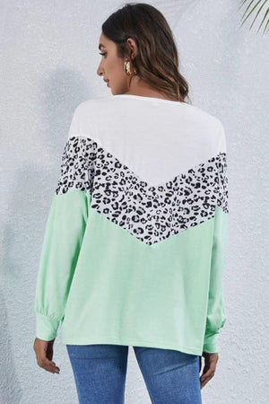Chevron Cheetah Color Block Pullover Sweatshirt