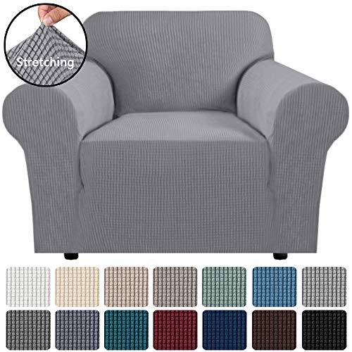 Chair H.VERSAILTEX 2-Pieces Armchair Cover Chair Slipcovers with Arms Furniture Protector Cover Fit Armchair Width Up to 48 Inch Deep Teal Jacquard Spandex Couch Covers Armchair Slipcover