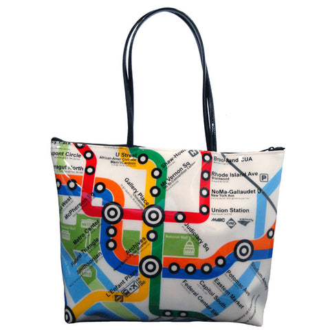 DC Metro Map Zip Top Tote Bag