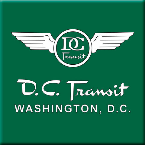 DC Transit (White text on Green background) Square Magnet