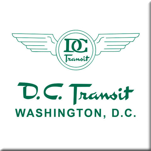 DC Transit (Green text on White background) Square Magnet