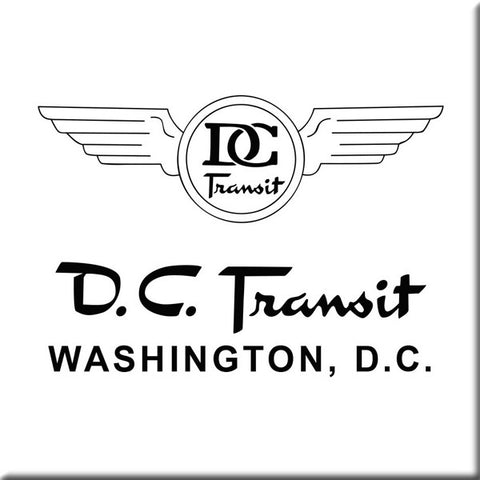 DC Transit (Black text on White background) Square Magnet