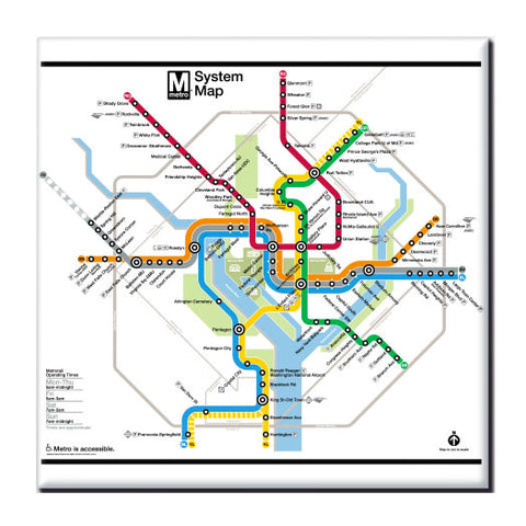 Washington DC Metro Map Magnet