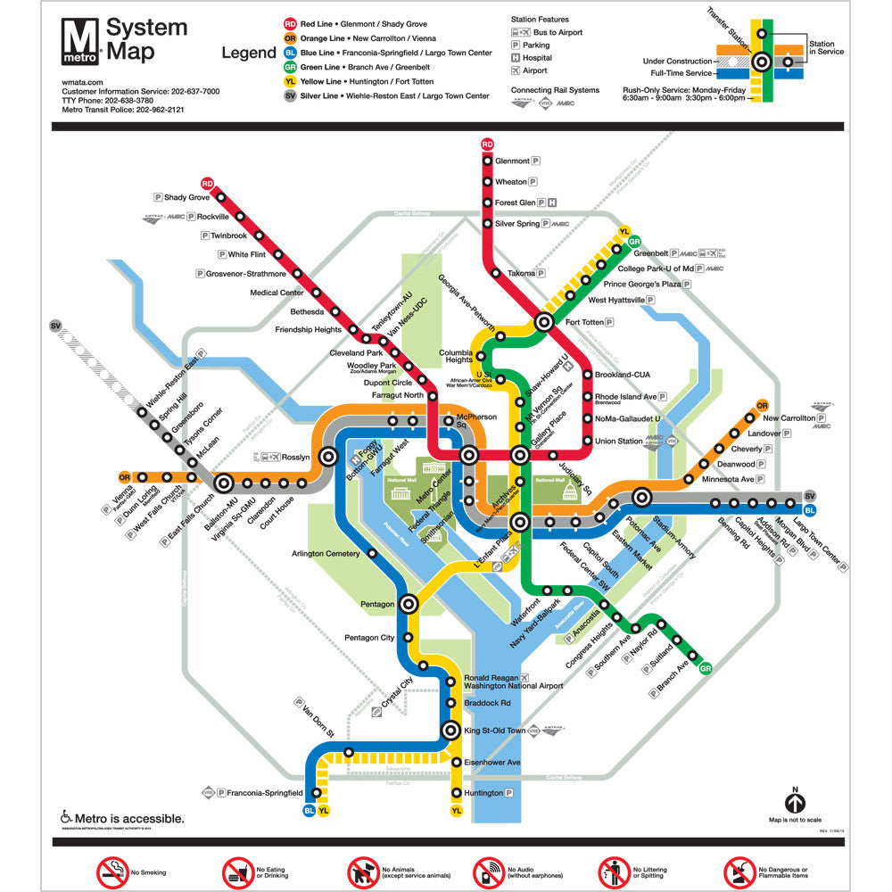 Metro Map Of Dc Washington DC Metro Map Silver Line Poster – DCMetroStore