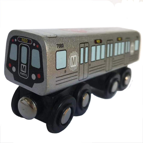 Red Line Wooden Train