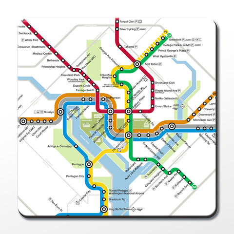 DC Metro Map (Detail) Cork Coaster