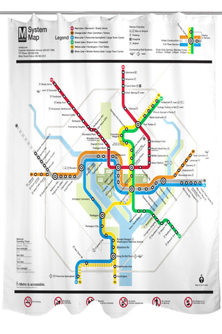Silver Line Map Shower Curtain