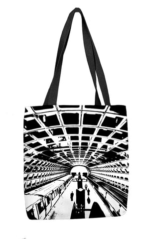 Metro Station (Black and White) Tote Bag