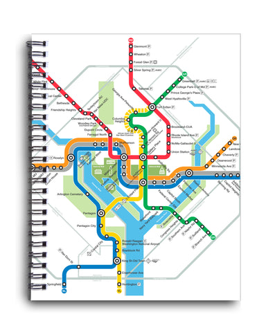 Washington Dc Metro Map Spiral Journal Dcmetrostore