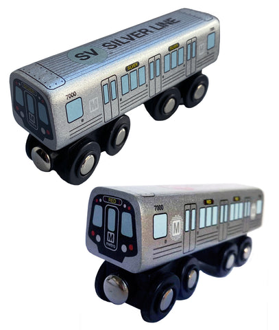 Silver & Red Line Wooden Train Combo (Save $6.00)