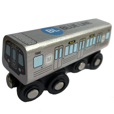 Blue Line Wooden Train