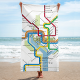 Metro Map Bath Towel