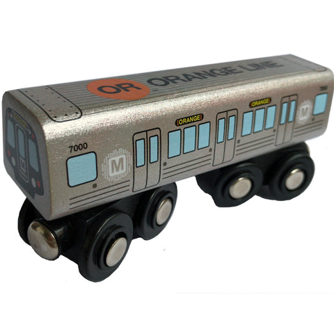 Orange Line Wooden Train