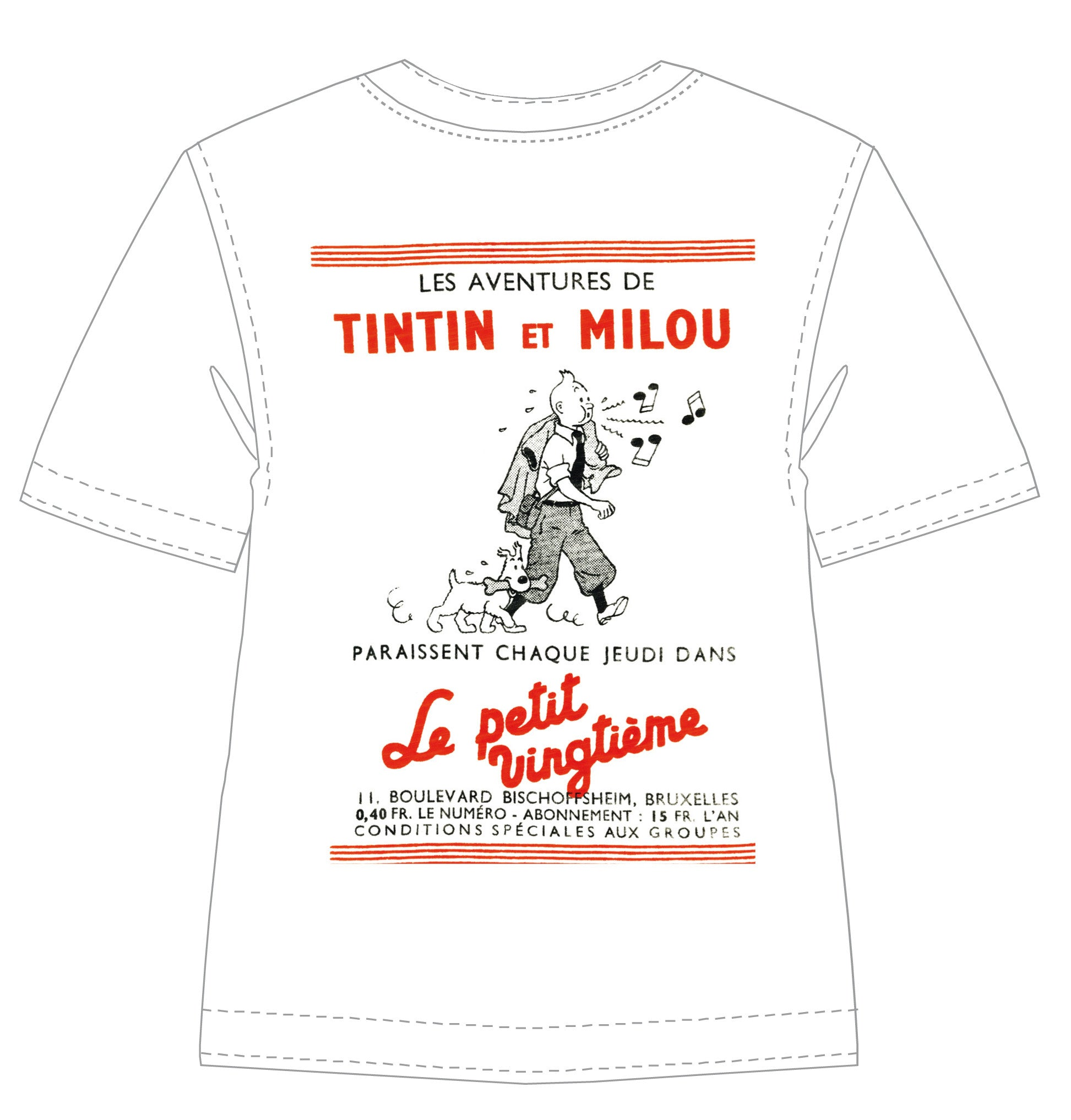 T-SHIRT: Le Petit - Tintin Whistling & Snowy (NOW $45.50 After Discount)