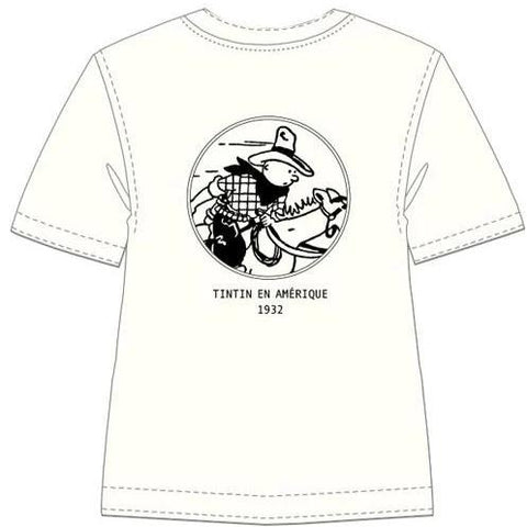 T-SHIRT  B&W TINTIN IN AMERICA (WHITE)