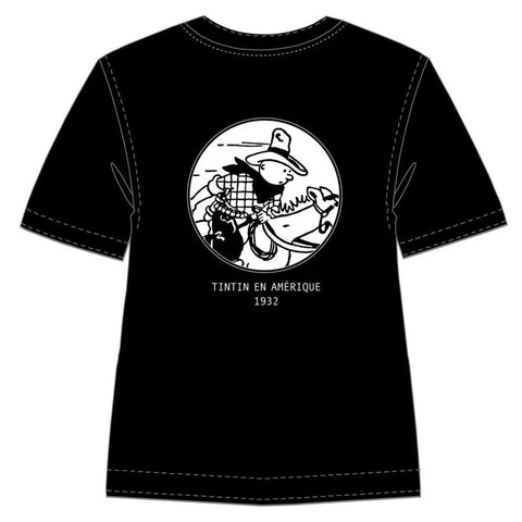 T-Shirt: B&W - Tintin in America (Black)