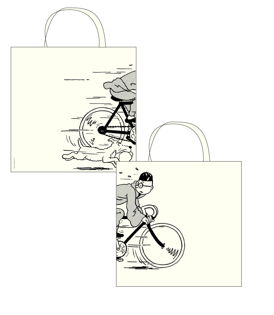 COTTON BAG: Tintin on Bicycle