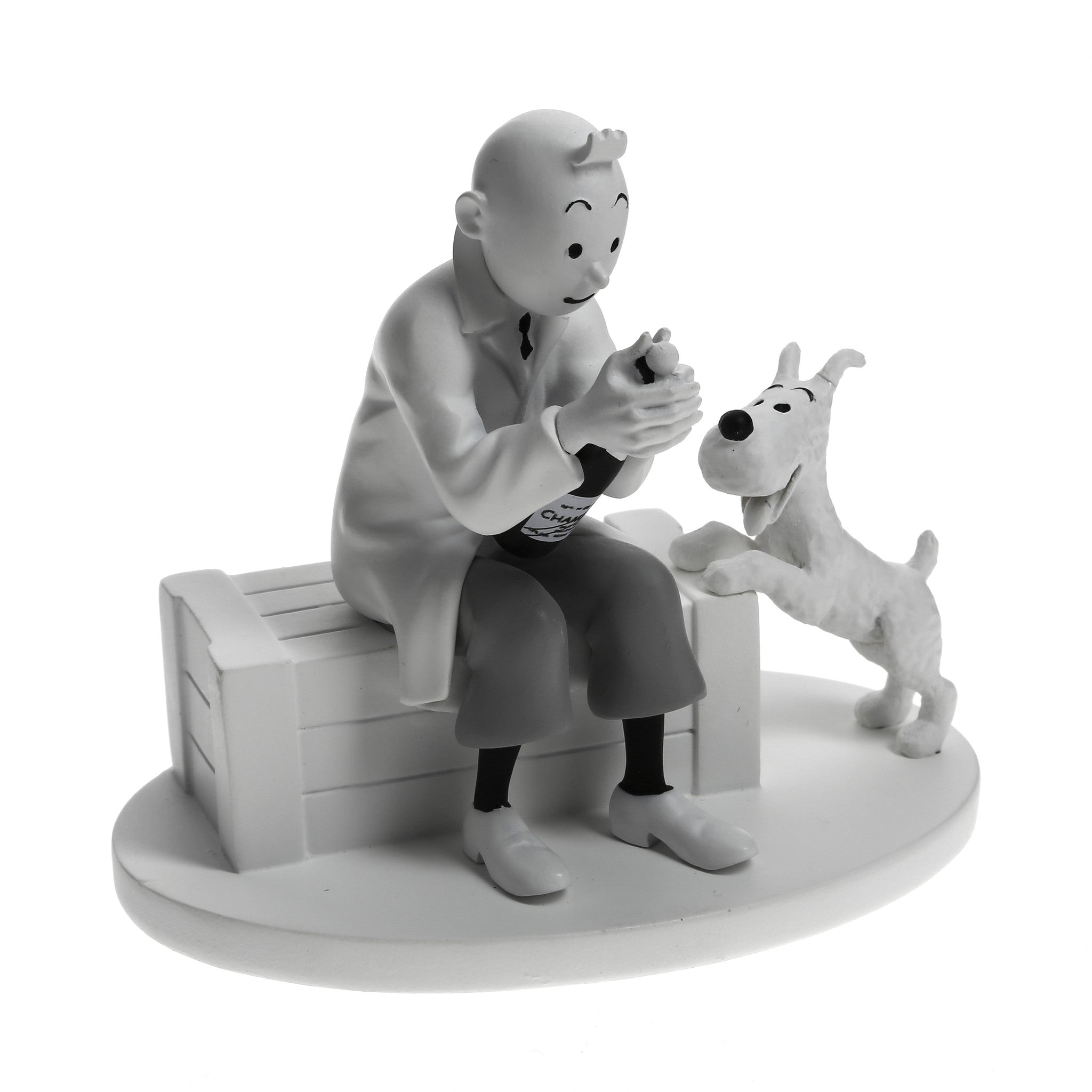 FIGURINE RESINE: B&W - Tintin In Crab With The Golden Claws (Champagne)
