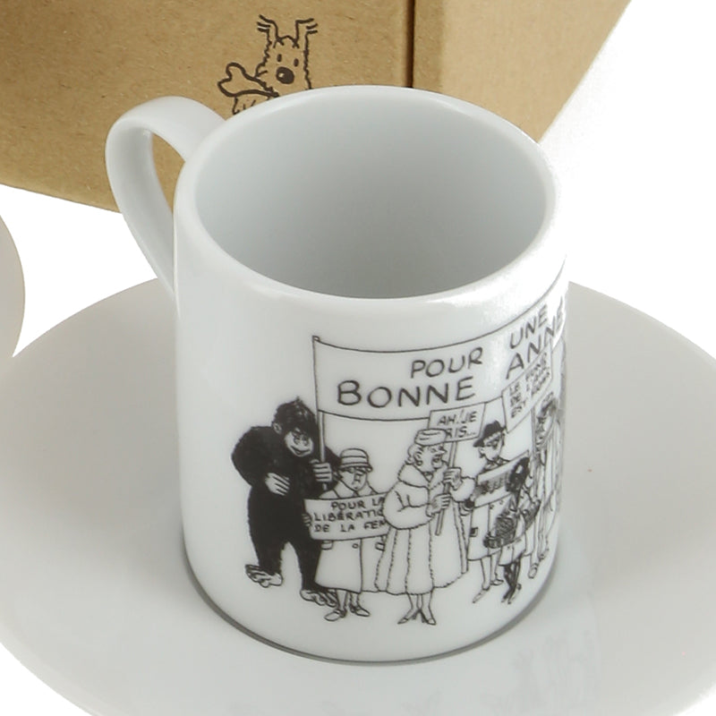 MUG DOUBLE: Set of 2 Espresso Cups (B&W Greeting Wishes 1972)