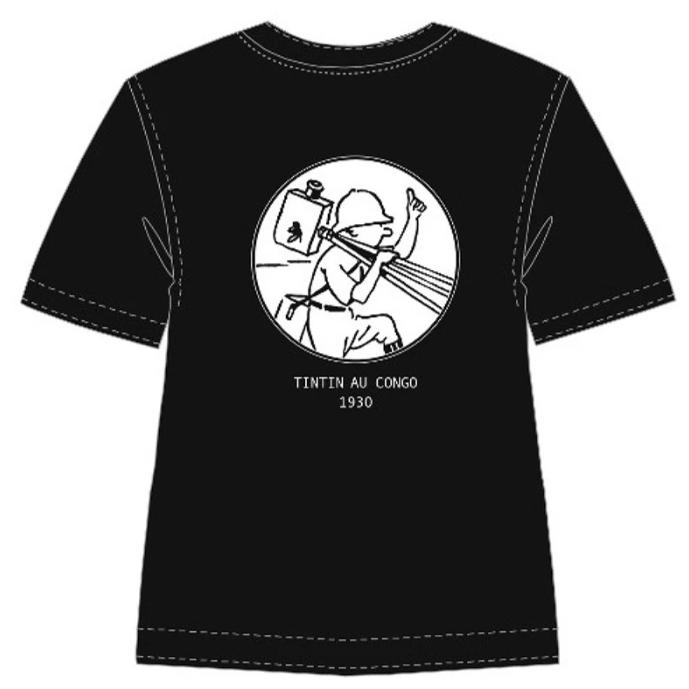 T-Shirt: B&W - Tintin in Congo (Black)