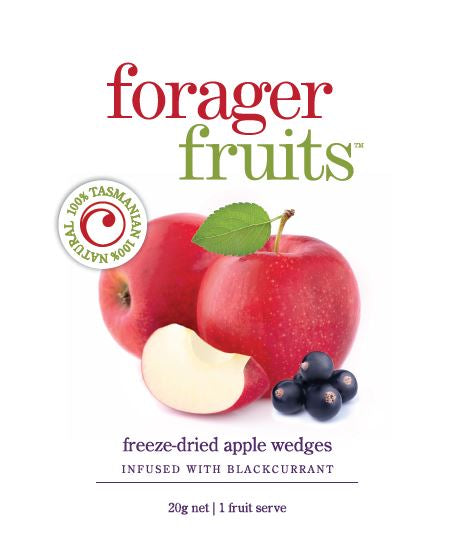 Freeze Dried Apple Wedges infused with Blackcurrant | 100% Tasmanian - Forager Foods