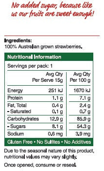 Freeze dried strawberries - nutritional information