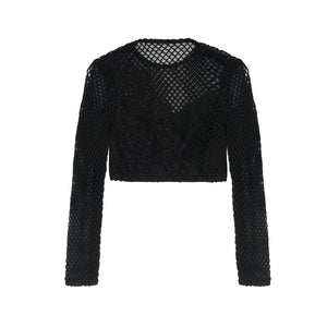 Black Crop with Mesh & Lace