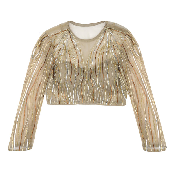 Gold Waves Embroidered Blouse