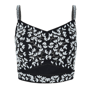 Black Embroidered Bustier - Bhaavya Bhatnagar